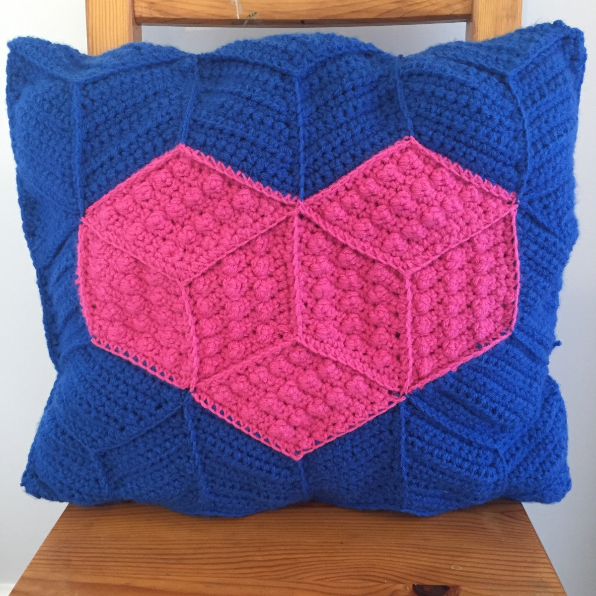 Tumbling Blocks Crochet Heart Cushion Hook Stitch Sew